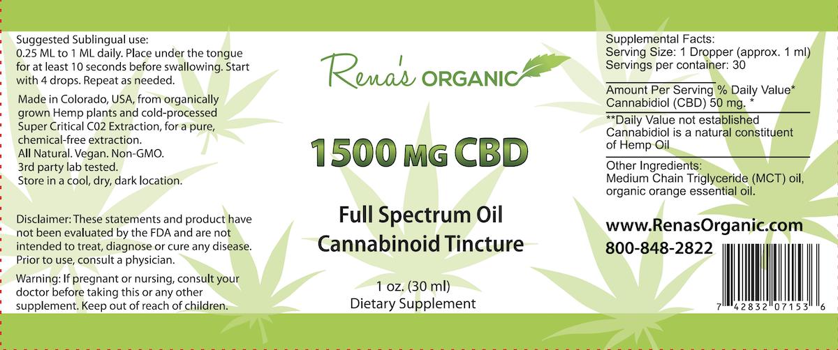 1500 mg. CBD Tincture Label