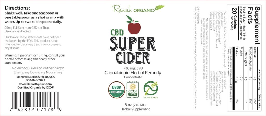 CBD Super Cider label