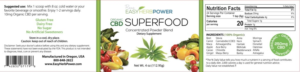 CBD Super Food Label