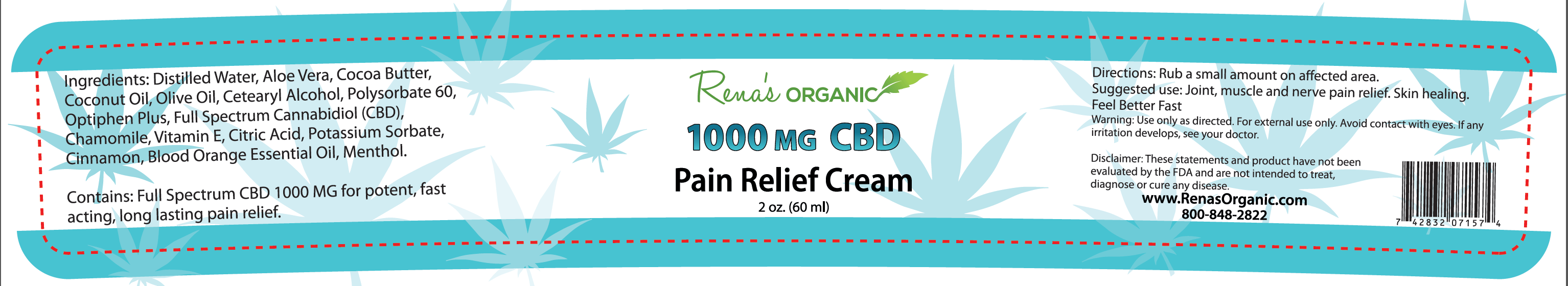 1000 mg pain relief cream label