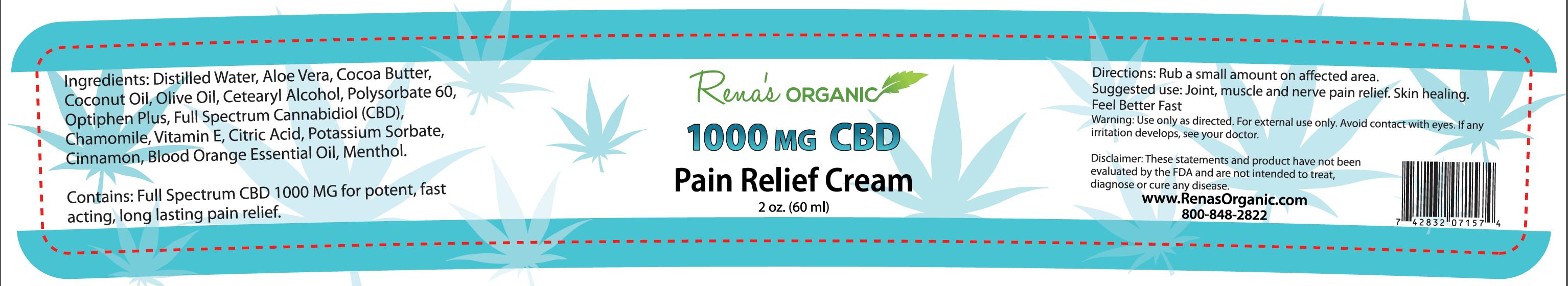 1000 mg pain relief cream label