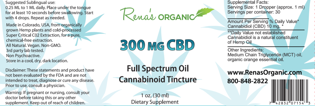 300 mg CBD tincture label