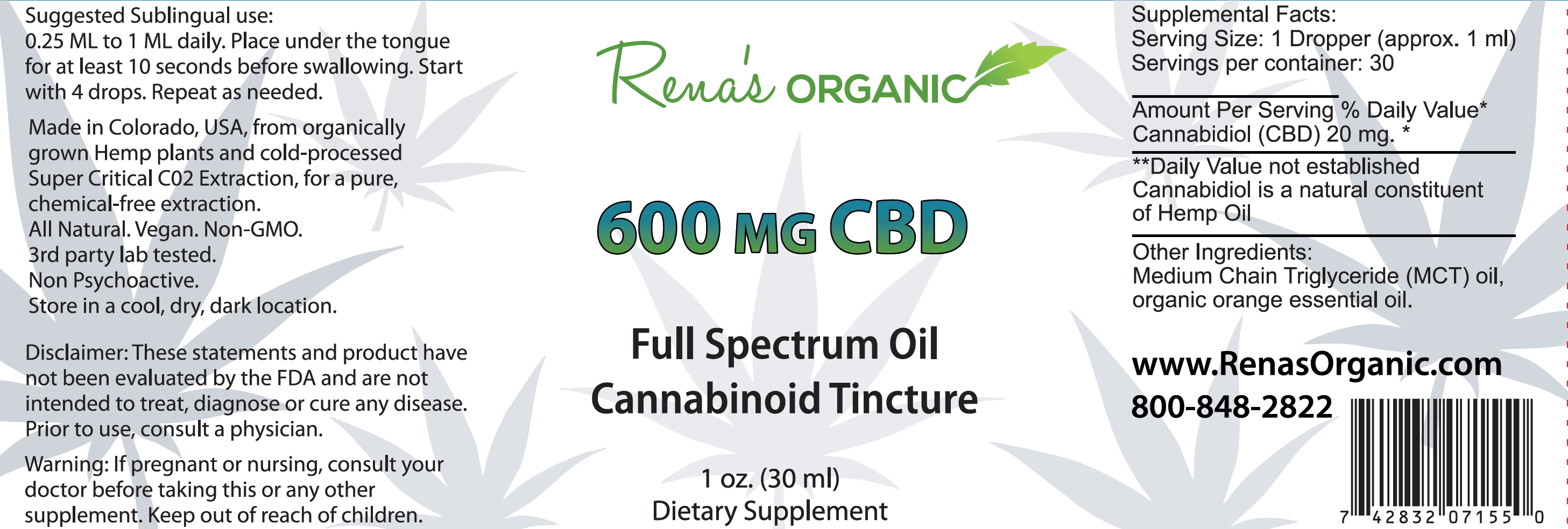 600 mg CBD tincture label