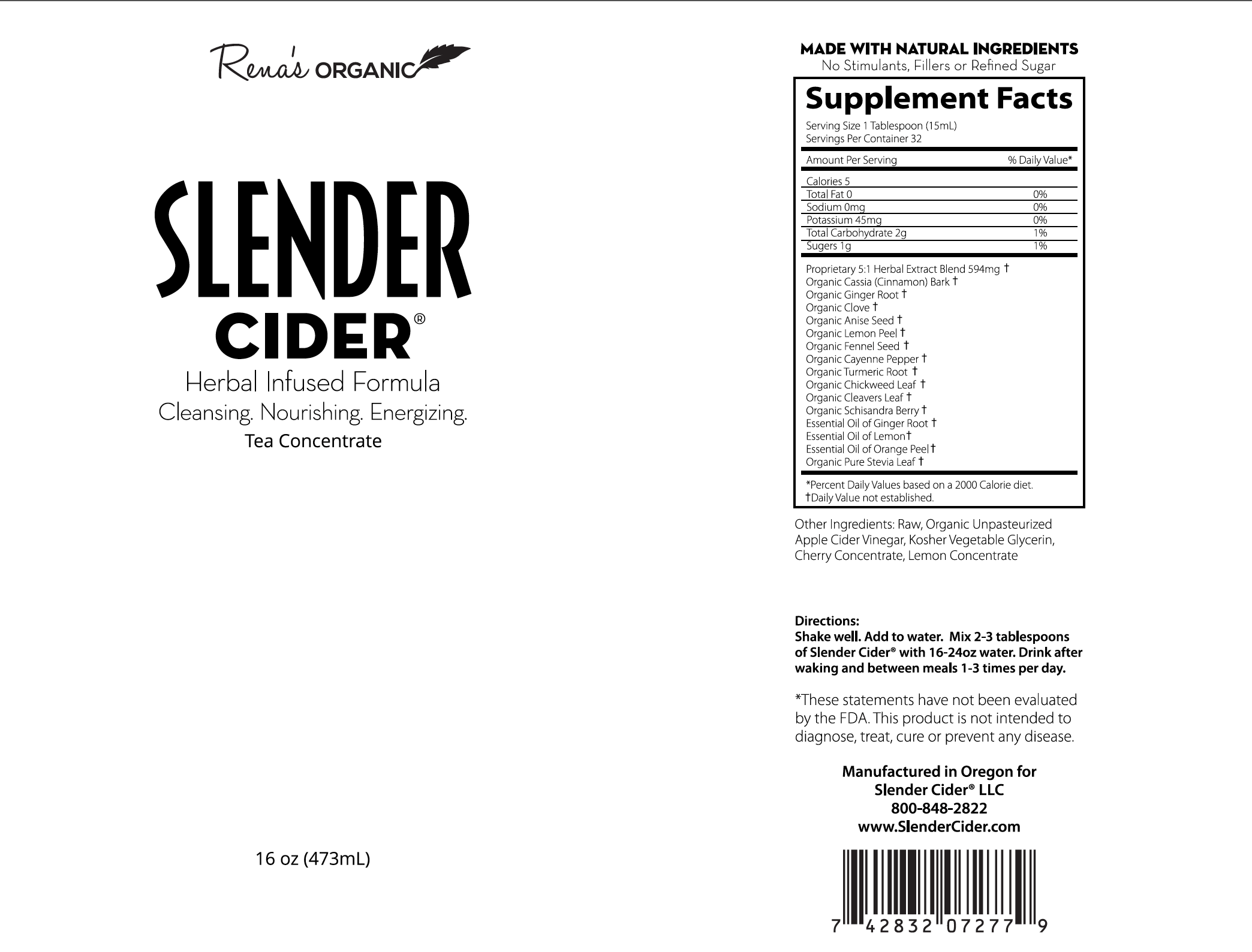 Slender Cider 16 oz label