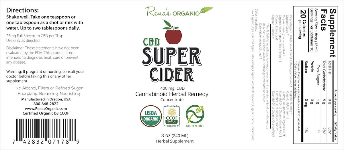 CBD Super Cider 8oz. Label