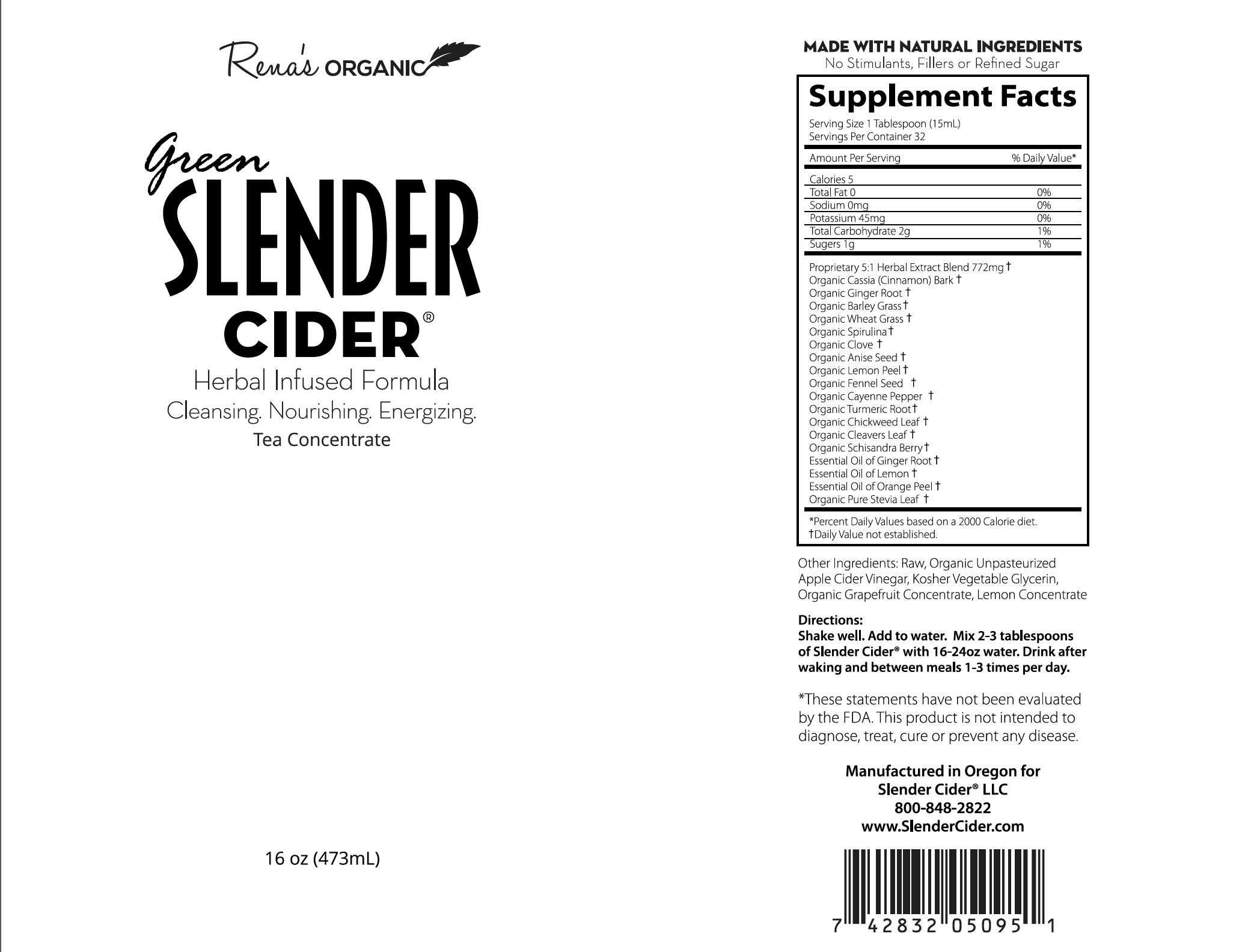 Green Slender Cider label 16 oz.