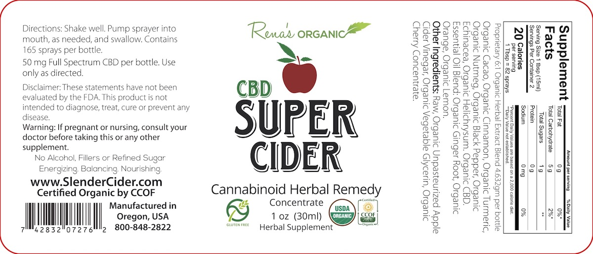 CBD Super Cider 8oz. Label
