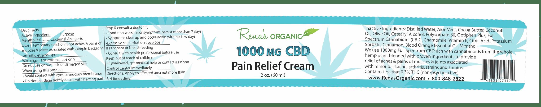 Rena's Organic 1000 mg CBD pain cream