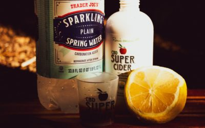 CBD Super Cider, Sparkling Water and Lemon