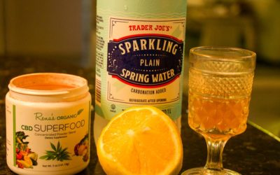 CBD Super Food, Sparkling Water and Lemon