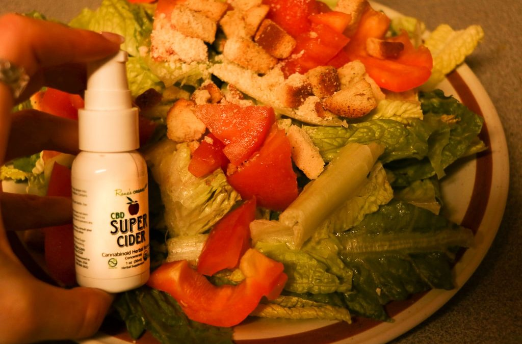 CBD Super Cider Spray on Salad