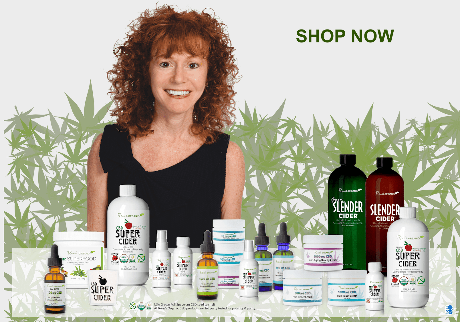 Rena's Organic product line with leaves