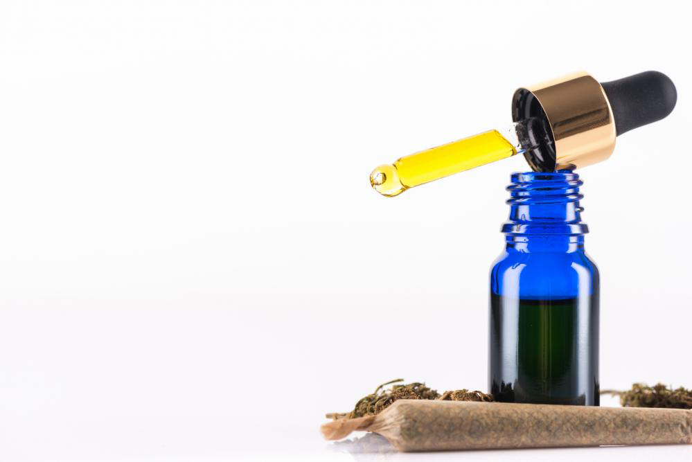 CBD bottle with a dropper to be consumed sublingually.